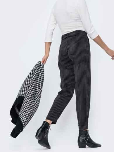 Зауженные брюки в полоску чёрные - 45029, фото 3 – интернет-магазин Dressa