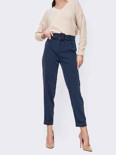 Зауженные брюки в полоску тёмно-синие - 45031, фото 1 – интернет-магазин Dressa