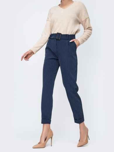 Зауженные брюки в полоску тёмно-синие 45031, фото 2
