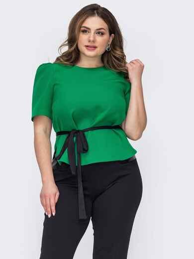 Зеленая блузка батал с коротким рукавом и съемным поясом 53618, фото 1
