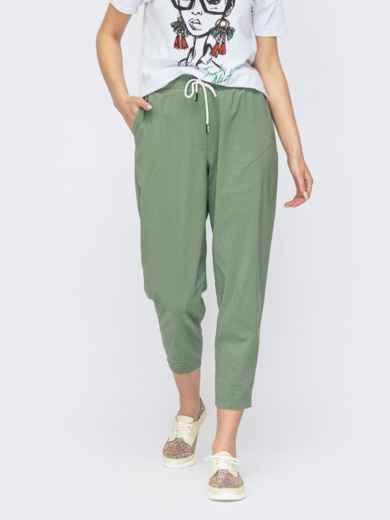 Укороченные штаны-джоггеры на резинке цвета хаки 53772, фото 1