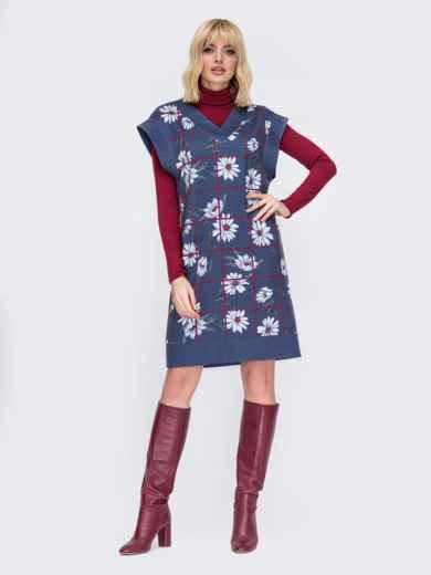 Темно-синее платье без рукавов с принтом 52627, фото 1