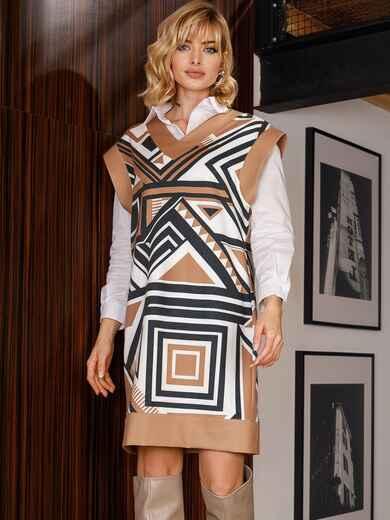 Бежевое платье без рукавов с геометрическим принтом 52628, фото 1