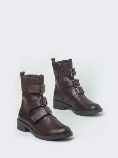 Демисезонные ботинки бордового цвета с пряжками - 41470, фото 2 – интернет-магазин Dressa