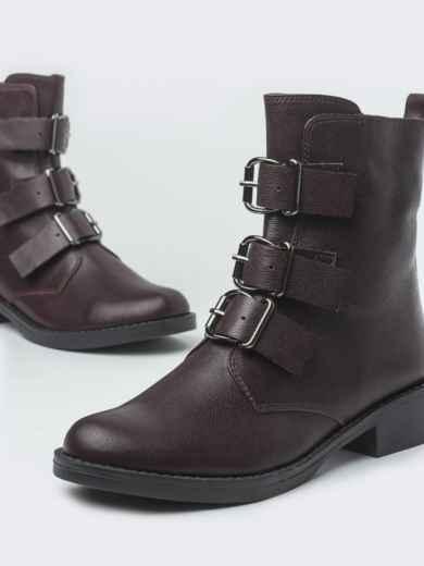 Демисезонные ботинки бордового цвета с пряжками - 41470, фото 3 – интернет-магазин Dressa