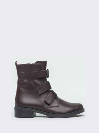 Демисезонные ботинки бордового цвета с пряжками - 41470, фото 4 – интернет-магазин Dressa