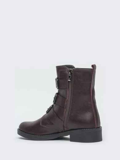Демисезонные ботинки бордового цвета с пряжками - 41470, фото 5 – интернет-магазин Dressa