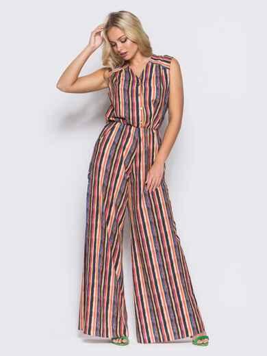 Комбинезон с брюками-клёш и талией на резинке красный - 10426, фото 1 – интернет-магазин Dressa
