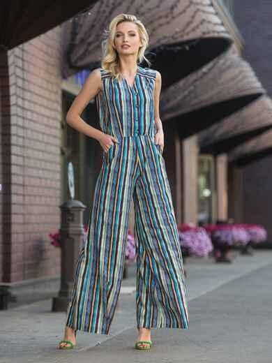 Комбинезон с брюками-клёш и талией на резинке зелёный - 10425, фото 1 – интернет-магазин Dressa
