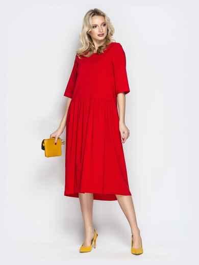 Красное платье oversize со складками на юбке 20657, фото 1