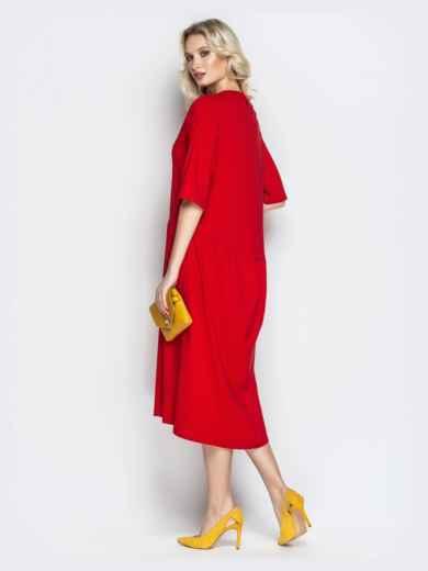 Красное платье oversize со складками на юбке - 20657, фото 2 – интернет-магазин Dressa