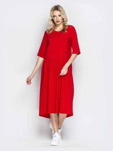 Красное платье oversize со складками на юбке - 20657, фото 3 – интернет-магазин Dressa