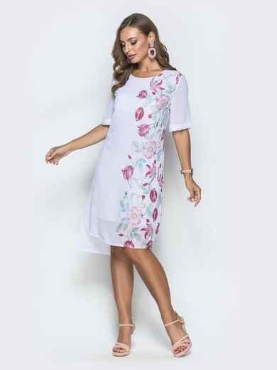 Платье белого цвета из шифона с принтом 39718, фото 1