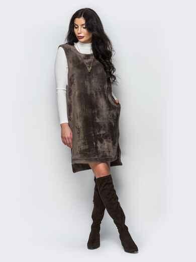 Платье бежевого цвета из меха без рукавов - 17708, фото 1 – интернет-магазин Dressa