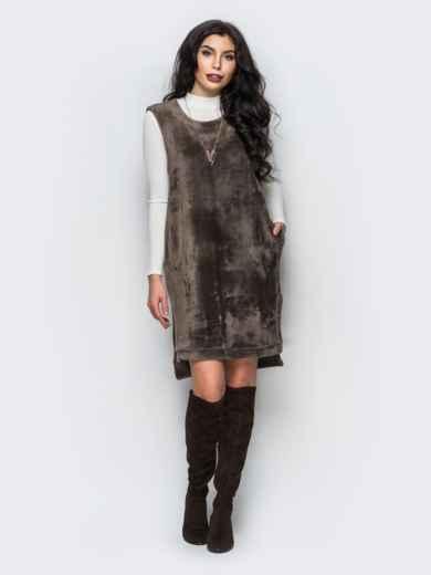 Платье бежевого цвета из меха без рукавов - 17708, фото 2 – интернет-магазин Dressa