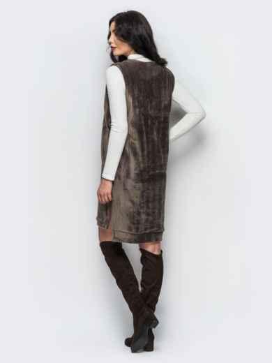 Платье бежевого цвета из меха без рукавов - 17708, фото 3 – интернет-магазин Dressa