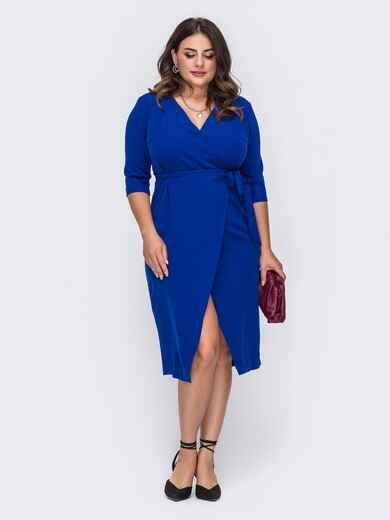 Платье большого размера на запах синее 51000, фото 1
