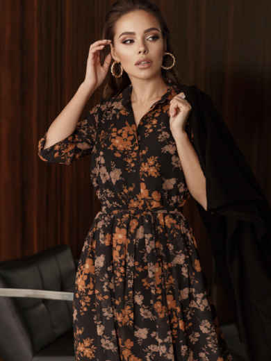 Платье из шифона с цветочным принтом чёрное 45055, фото 3