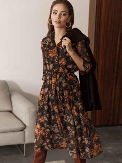 Платье из шифона с цветочным принтом чёрное 45055, фото 4