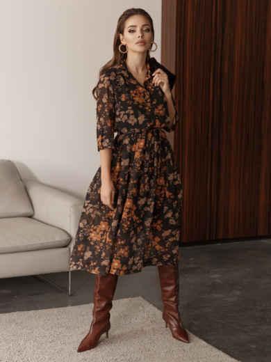 Платье из шифона с цветочным принтом чёрное 45055, фото 5