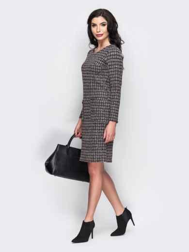 Платье с карманами спереди и вырезом сзади коричневое - 13657, фото 3 – интернет-магазин Dressa