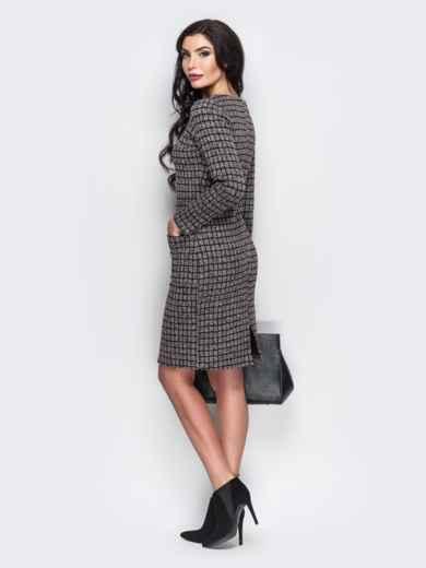 Платье с карманами спереди и вырезом сзади коричневое - 13657, фото 4 – интернет-магазин Dressa