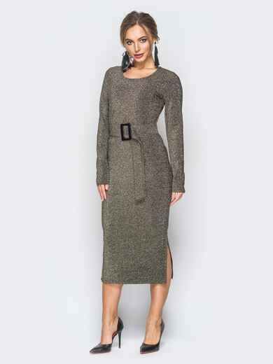 Платье серо-золотистого цвета из люрекса с поясом в комплекте - 18337, фото 1 – интернет-магазин Dressa