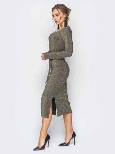 Платье серо-золотистого цвета из люрекса с поясом в комплекте - 18337, фото 2 – интернет-магазин Dressa