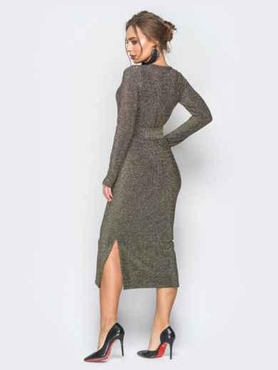 Платье серо-золотистого цвета из люрекса с поясом в комплекте - 18337, фото 3 – интернет-магазин Dressa