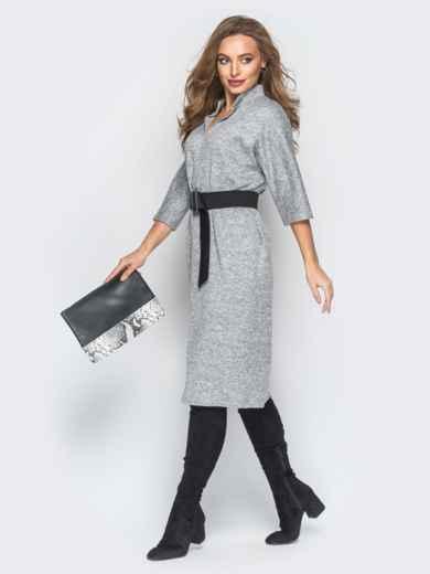 Платье серого цвета из ангоры с поясом - 18343, фото 2 – интернет-магазин Dressa
