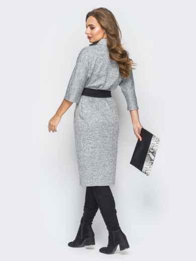 Платье серого цвета из ангоры с поясом - 18343, фото 3 – интернет-магазин Dressa