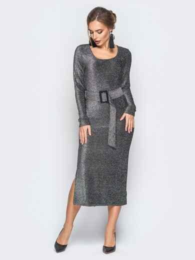 Платье серого цвета из люрекса с поясом в комплекте 18336, фото 1