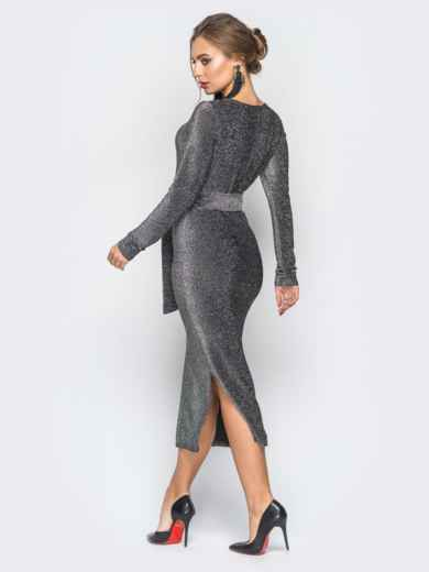 Платье серого цвета из люрекса с поясом в комплекте - 18336, фото 3 – интернет-магазин Dressa