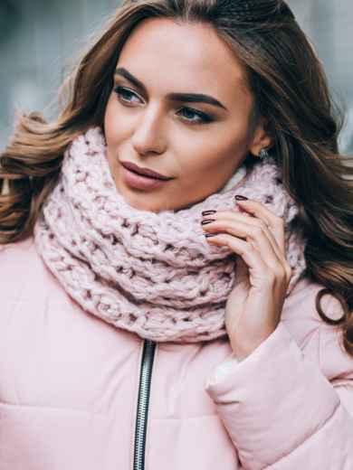 Розовые шапка на флисе и шарф - 14910, фото 3 – интернет-магазин Dressa