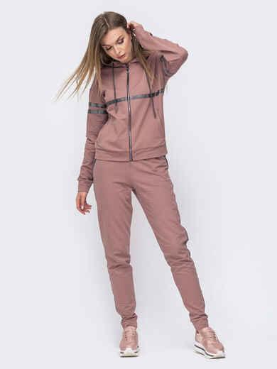 Розовый костюм из кофты с капюшоном и брюк 45784, фото 1