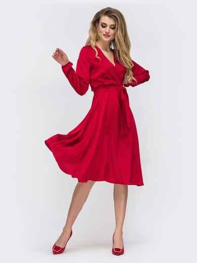 Шелковое платье красного цвета с поясом - 42657, фото 1 – интернет-магазин Dressa
