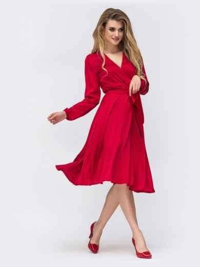 Шелковое платье красного цвета с поясом - 42657, фото 2 – интернет-магазин Dressa