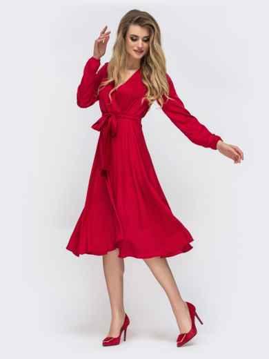 Шелковое платье красного цвета с поясом - 42657, фото 3 – интернет-магазин Dressa