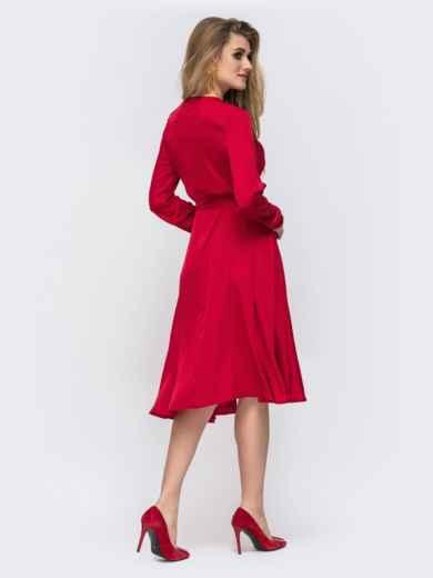 Шелковое платье красного цвета с поясом - 42657, фото 4 – интернет-магазин Dressa