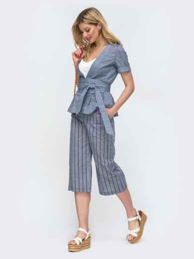 Синий комплект из жакета и брюками-кюлотами в полоску - 46888, фото 2 – интернет-магазин Dressa