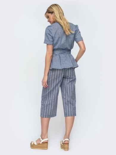 Синий комплект из жакета и брюками-кюлотами в полоску - 46888, фото 3 – интернет-магазин Dressa