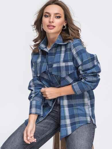 Синяя рубашка в клетку с закругленным низом 51859, фото 1