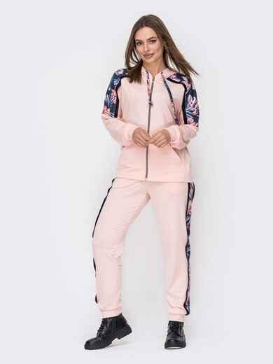 Спортивный костюм из двунитки с контрастными вставками пудровый 52632, фото 1