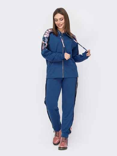 Спортивный костюм из двунитки с контрастными вставками синий 52672, фото 1