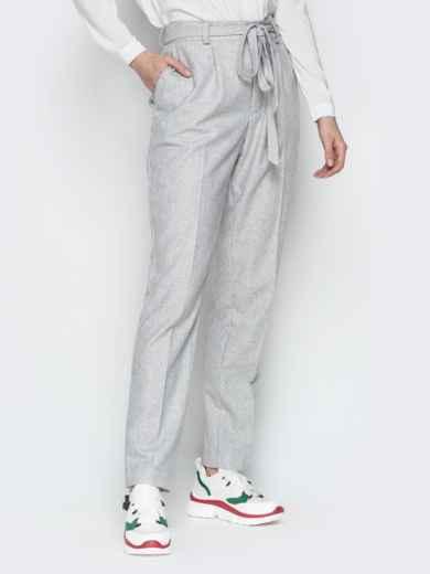 Светло-серые брюки с поясом и шлёвками 20093, фото 2