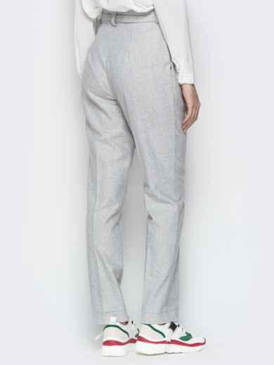 Светло-серые брюки с поясом и шлёвками 20093, фото 3