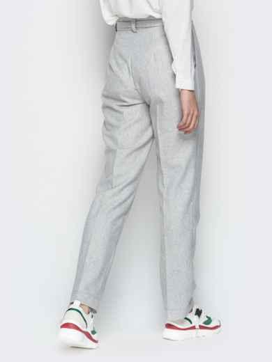 Светло-серые брюки с поясом и шлёвками 20093, фото 4