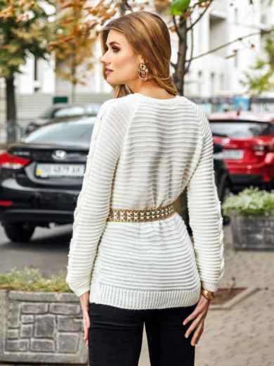 Свитер из шерсти с акрилом и жемчужинами на рукавах белый - 42332, фото 3 – интернет-магазин Dressa