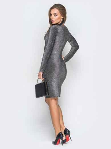 Трикотажное платье с нитью люрекса серое - 18331, фото 2 – интернет-магазин Dressa
