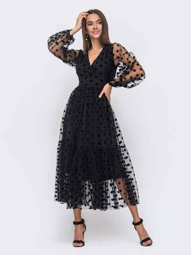 Вечернее платье-миди из фатина в крупный горох черное 51169, фото 1